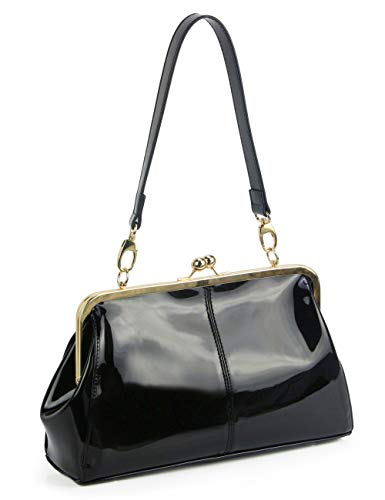 Vintage Kiss Lock Handbags Shiny Patent Leather Evening Clutch Purse Tote Bags with Chain Strap (Black)