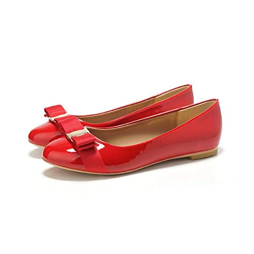 Women's Bow Shoes Office Shoes Flat Bottom Round Head Patent Leather Large Size Women's Shoes Flats Red