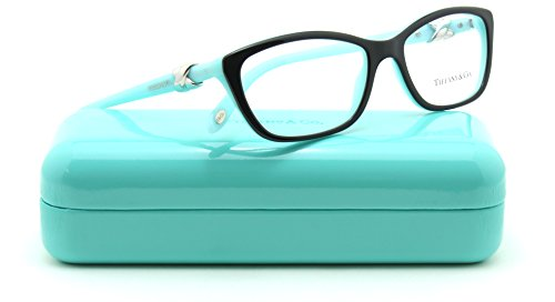 Tiffany & Co. TF 2074 Women Cat-Eye Eyeglasses RX - able Frame (BLACK/BLUE 8199, 52) by Tiffany & Co.