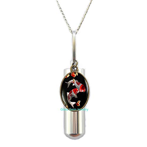 glass gem jewelry Koi Fish Cremation URN Necklace, Japanese Koi Fish, Japanese Art URN, Koi Fish Art, Asian Art Cremation URN Necklace,Q0093