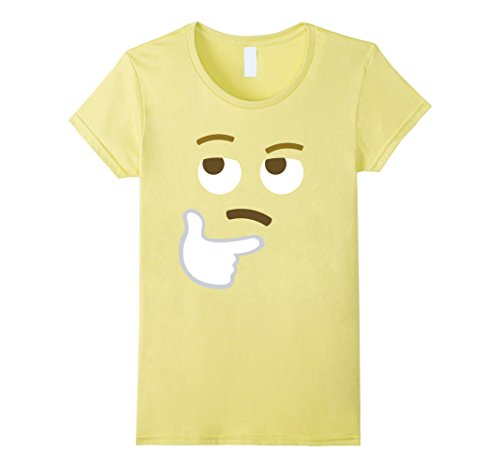 Womens Halloween Emoji Costume T-Shirt Funny Thinking Print Tee Top XL (Emoji Halloween Costume)