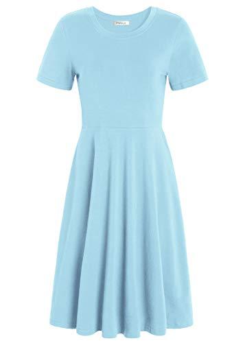 Pintage Women's Short Sleeves Crew Neck Knee Length Skater Dress 3X Sky Blue Blue Sky Cotton Skirt