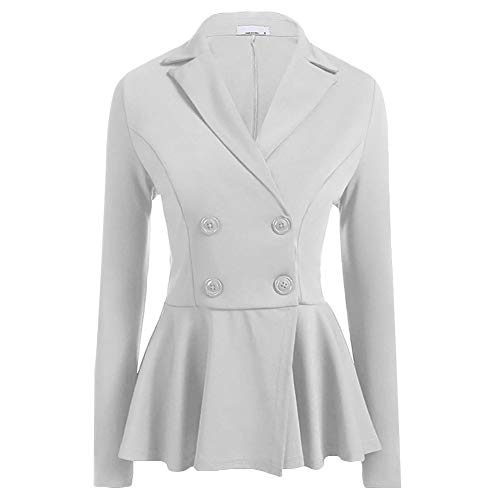Women's Double Breasted Slim Fit Two Button Office Blazer Jacket Suit White