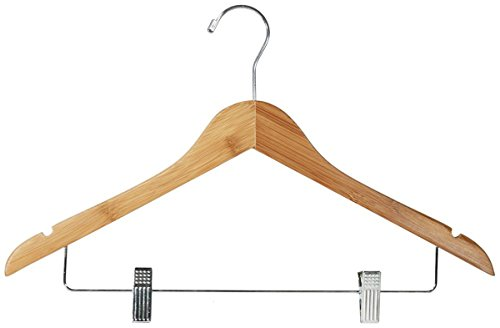 Pant Closet Dress 17'' Dark Bamboo Combo Hanger Clips Notches Retail Dispplay Store Fixture Lot of 100 New by Bentley's Display