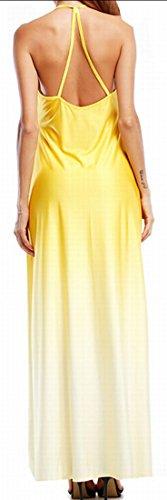 Jaycargogo Long Yellow Women's Beachwear Spaghetti Loose Dress Strap Gradient rrxq8fY