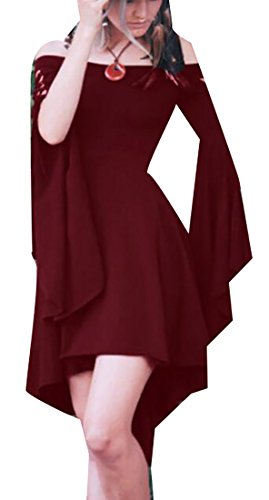 Dress Red Irregular Long Jaycargogo Wine Sleeve Shoulder Womens Off Mini Ruffle OBv8f