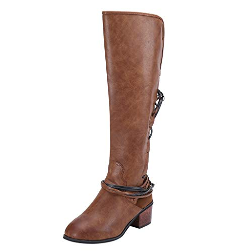 Mysky Fashion Women Retro Solid Square Heel Knee High Boots Ladies Casual Lace Up Bandage Boots -