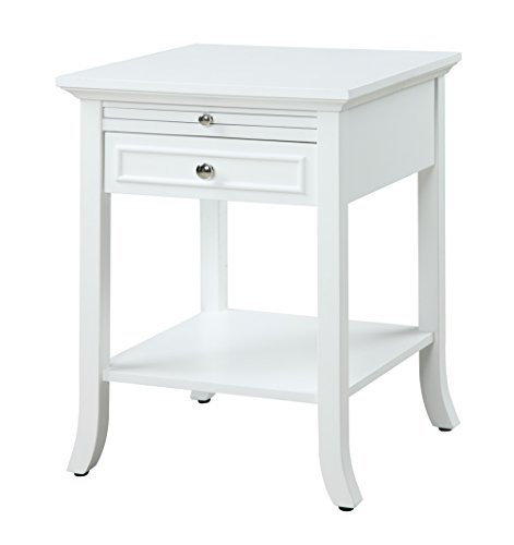 Convenience Concepts American Heritage Collection Logan End Table with Drawer and Slide, White