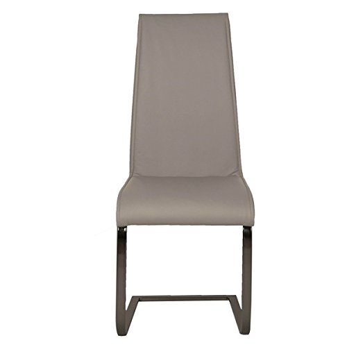 Dino Grey Chrome/Faux Leather Dining Chairs (Set of 2) (Dino Leather)
