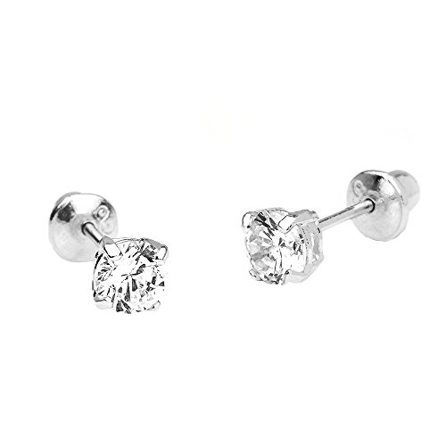 (14k White Gold 5mm Basket Round Solitaire Cubic Zirconia Children Screw Back Baby Girls Earrings)