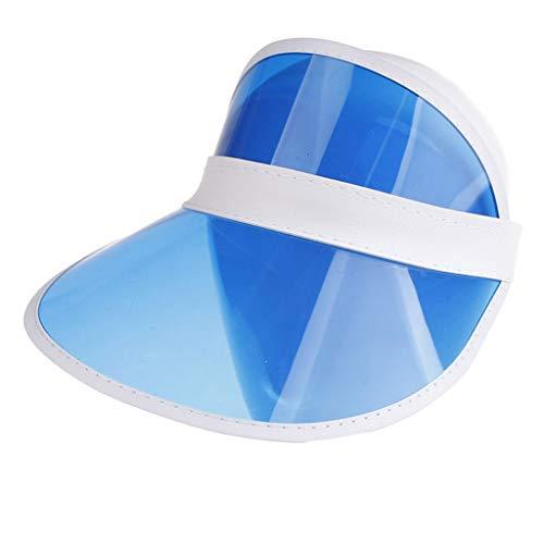 BCDshop Sun Visor UV Protection Cap Men Women Outdoor Sports Beach Plastic Hiking Golf Visor Hat (Blue)