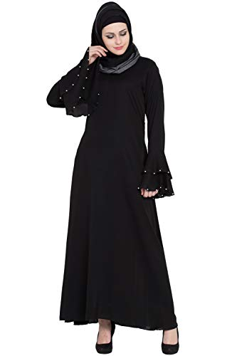 Entire Women's Nida Fabric Abaya Burqa Niqab 3 Layer Bell Sleeves (ES-INBLKWS-1M/19, Black, Large)