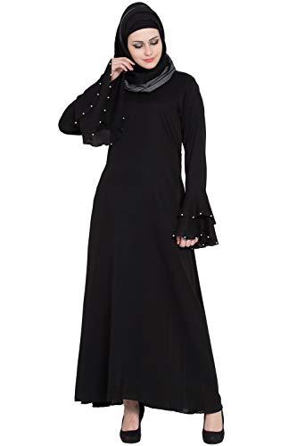 Entire Women's Nida Fabric Abaya Burqa Niqab 3 Layer Bell Sleeves (ES-INBLKWS-1M/19, Black, Large)
