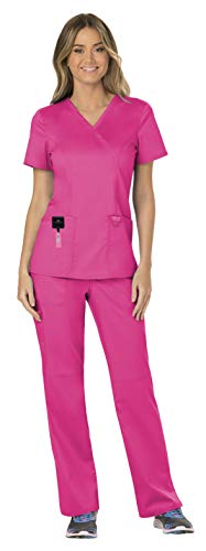 Cherokee Workwear Revolution Women's Medical Uniforms Scrubs Set Bundle - WW610 Mock Wrap Scrub Top & WW110 Pull On Scrub Pants & MS Badge Reel (Electric Pink - X-Small/XSmall Petite) for $<!--$40.96-->