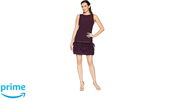 e8defd40 Tahari by ASL Women's Sleeveless Crepe Sheath with Ostrich Feather Trim  Aubergine 10 at Amazon Women's Clothing store: