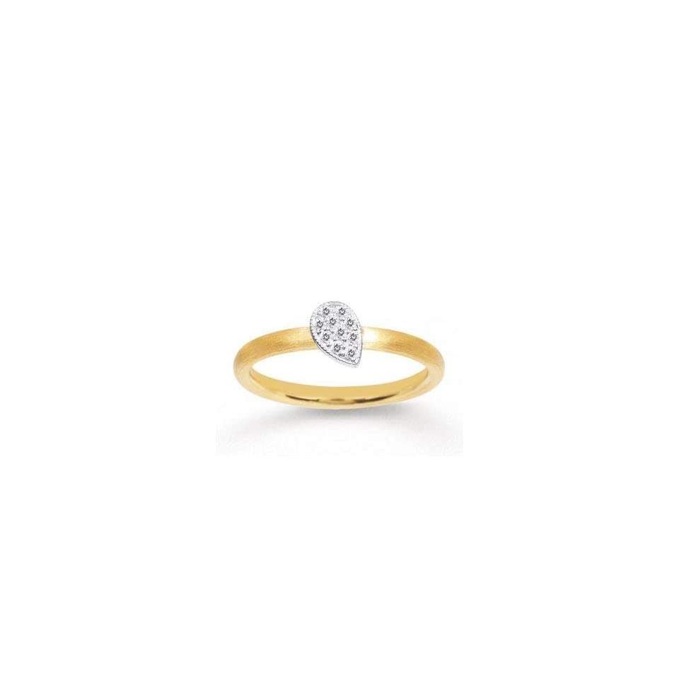 14k Two Tone Gold Diamond Tear Drop Stackable Ring