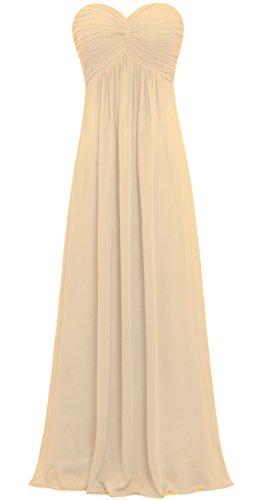 Robes De Demoiselle D'honneur En Mousseline De Soie Sans Bretelles Plissées Champagne Longues Robes De Femmes De Fourmis