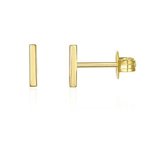 PAVOI 14K Gold Plated Mini Bar Stud Earrings - Yellow ()