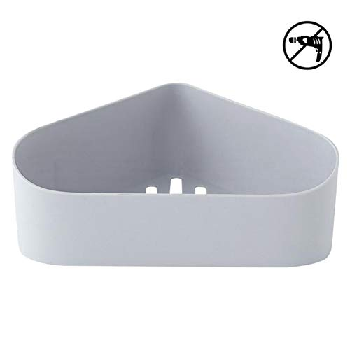 Adhesive Corner Bathroom Shelf,Triangle Wall Shower Corner Shelf,No Drilling, Self Adhesive, No Damage Wall Mount 9.5 x 8.3 x 3.4 inches (Gray)
