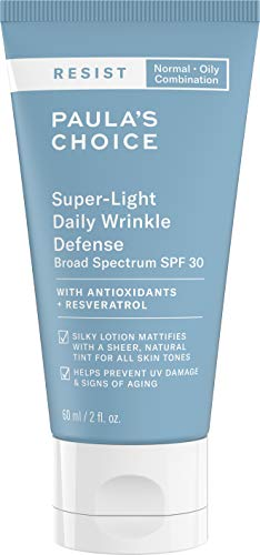Paula's Choice RESIST Super-Light Daily Wrinkle Defense SPF 30 Matte Tinted Face Moisturizer | UVA & UVB Protection | Anti-Aging Sunscreen for Oily Skin | 2 Ounce (Best Sun Protection For Oily Skin)