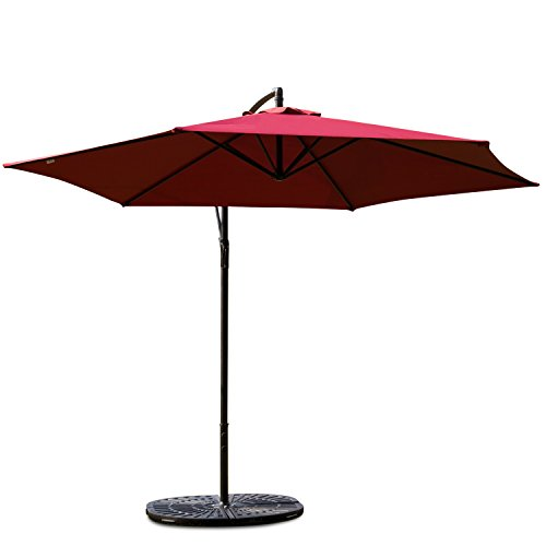 Kinbor Peach Tree Sunbrella 10Ft Patio Offset Cantilever Hanging Umbrella Outdoor Market Table with Base Hanging Parasol Garden Bench Outside Furniture,Wine Red