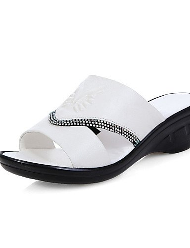 LFNLYX Zapatos de mujer-Tacón Plano-Comfort-Sandalias-Exterior / Vestido / Casual-Nappa Leather-Rojo / Blanco White