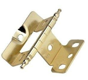 Amerock Cabinet Hinge, Full Inset, Full Wrap, Minaret Tip, Polished Brass from Amerock