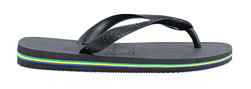 Havaianas Brazil Sandal Black Unisex Flip Flop, BR 43/44, US - Havaianas Black Brazil