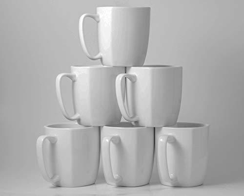 14 Ounce Set - Amuse- Professional Porcelain Bistro Collection Daily Mugs- Set of 6-14 oz