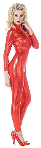 UHC Women's Stretch Devil Jumpsuit Catsuit Funny Theme Halloween Fancy Costume, XL (Plus Size Red Suit Devil Costumes)