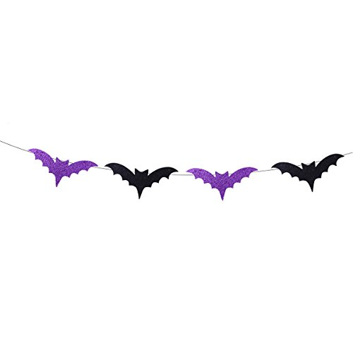 Tinksky Halloween Props Ornaments Black Glittering Bat Shape Bunting Banners Garlands Home Party Decoration halloween banner Bat Garland
