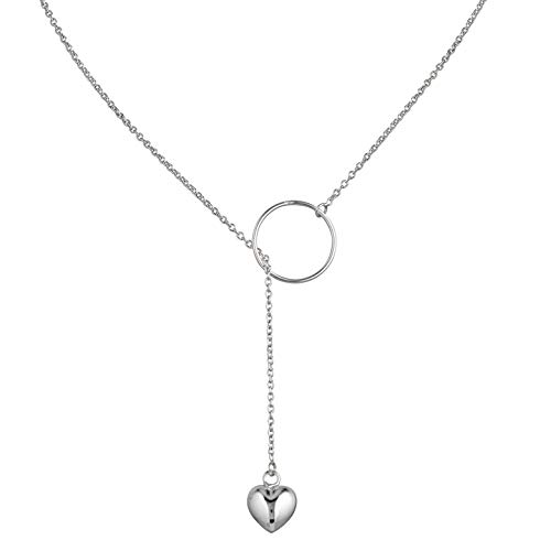 925 Sterling Silver Y Shape Lariat Open Circle Loop Hoop Dangle Heart Pendant Necklace, 19.5 inches ()