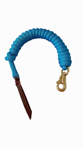 Premium 9/16 Double Braid Polyester Yacht Rope Horse Lead Rope for Natural Horsemanship with Eye Spliced Loop 12ft. or 14ft. lengths (Blue, 14 ft. with Hitched in Brass Trigger Bull Snap)