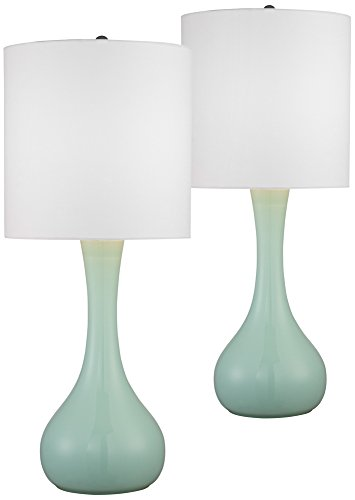 Grayed Jade Glass Table Lamp Set of 2