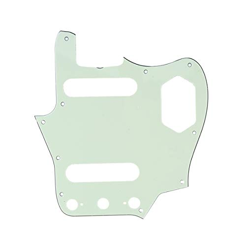 Musiclily Pro 10-Hole 65 60s Vintage Style Guitar Pickguard for Fender American Jaguar, 3Ply Mint Green