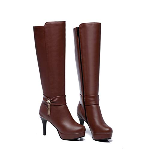 Hoxekle Women Knee High Boots Rhinestone Bow High Thin Heel Round Toe Side Zipper Lady Winter Platfom Sexy Shoes (Platform Side Bow Lace)