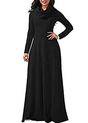 Ferbia Womens Dress Long Sleeve Black Maxi Fall Winter Swing Cowl Neck Plain Casual Dresses