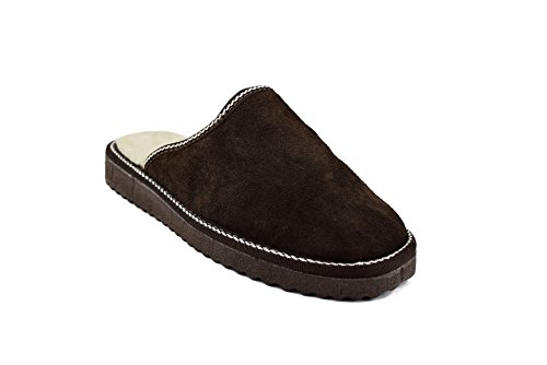 Zerimar Pantoffeln für Zuhause (Innen Fell von Außen Leder) Hausschuhe Winter Farbe Braun Größe 40