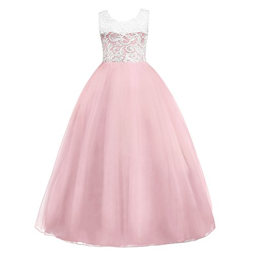 5-16T Little Big Girls Floor Length Lace Tulle Bridesmaid Dress Flower Wedding Pageant Party Prom Long Maxi Evening Dance Gown Pink