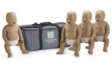 4-Pack of Infant CPR Manikins with Compression Rate Monitors by Prestan, Dark Skin Tone PP-IM-400M-DS