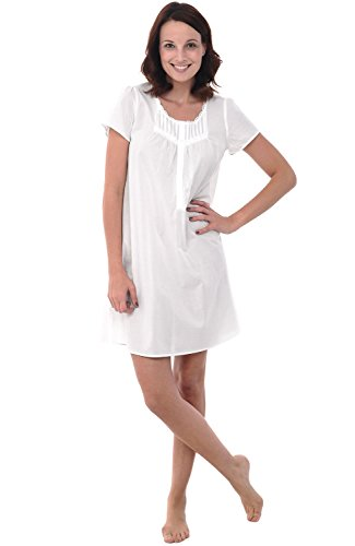 Alexander Del Rossa Womens 100% Cotton Lawn Nightgown, Short-Sleeve Chemise, Medium White (A0583WHTMD) -
