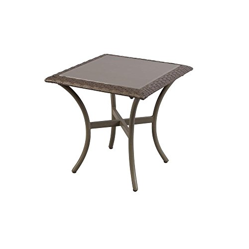 Hampton Bay Posada 18 in. Glass Top Outdoor Patio Accent Side Table, Brown (153-120-18ST) Review