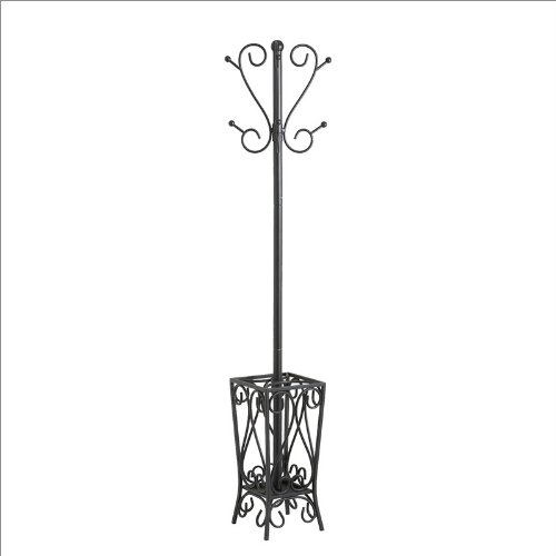 Southern Enterprises Scrolled Coat Rack and Umbrella Stand in Black