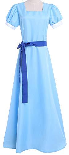 ROLECOS Womens Princess Dress Light Blue Maxi Dresses Halloween Cosplay Costume Blue Belt -