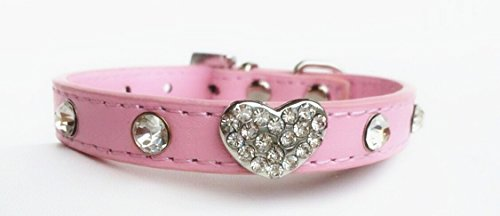 Dogs Kingdom 12-20 Length Pet Rhinestones Leather Dog Collar Big Bling Love Heart Sparkly Crystal Diamonds Studded Shining Pet Necklace,Pink,S