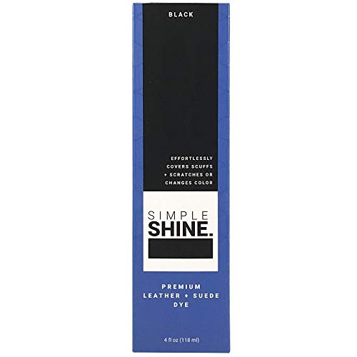 (Simple Shine Premium Black Suede and Leather Dye | Built in Applicator Sponge to Repair Scuffed Damaged Shoes Bags and More| 4oz)