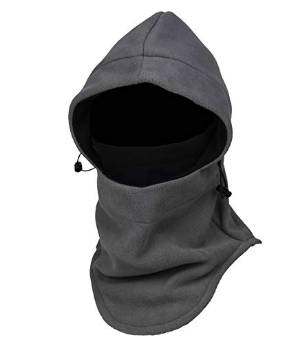 Fleece Hood 1 - Purjoy Multipurpose Use 6 in 1 Thermal Warm Fleece Balaclava Hood Police Swat Ski Bike Wind Stopper Full Face Mask Hats Neck Warmer Outdoor Winter Sports Snowboarding Cap(Grey+Black)