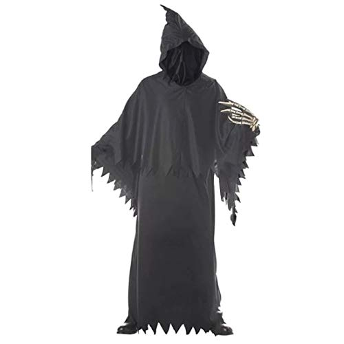 Grim Reapers Costumes (Scary Grim Reaper Costume Prop Kids Boys Halloween Scary Horror Death Fancy One Size Black Robe Hood with Face Cover (Black, One)