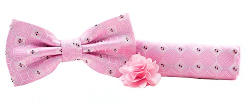 Gift Set - Pre Tied Geometric Bow Tie, Pocket Square Hanky, and Lapel Pin Set - Pink
