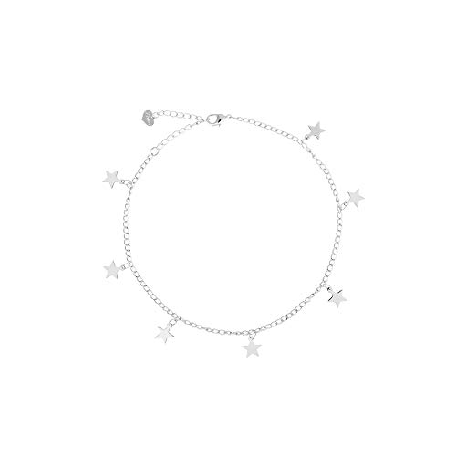 (S.J JEWELRY Fremttly Friendship Gift Handmade Dainty Anklet 14K Gold Filled/Silver Star Lucky Beads Lace Chain Adjustable Foot Chain for Womens-ANK-Star-Silver)